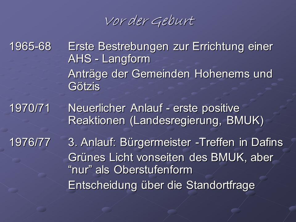 Vor der Geburt 1965-68Erste Bestrebungen zur Errichtung einer AHS - Langform Anträge der Gemeinden Hohenems und Götzis 1970/71Neuerlicher Anlauf - ers
