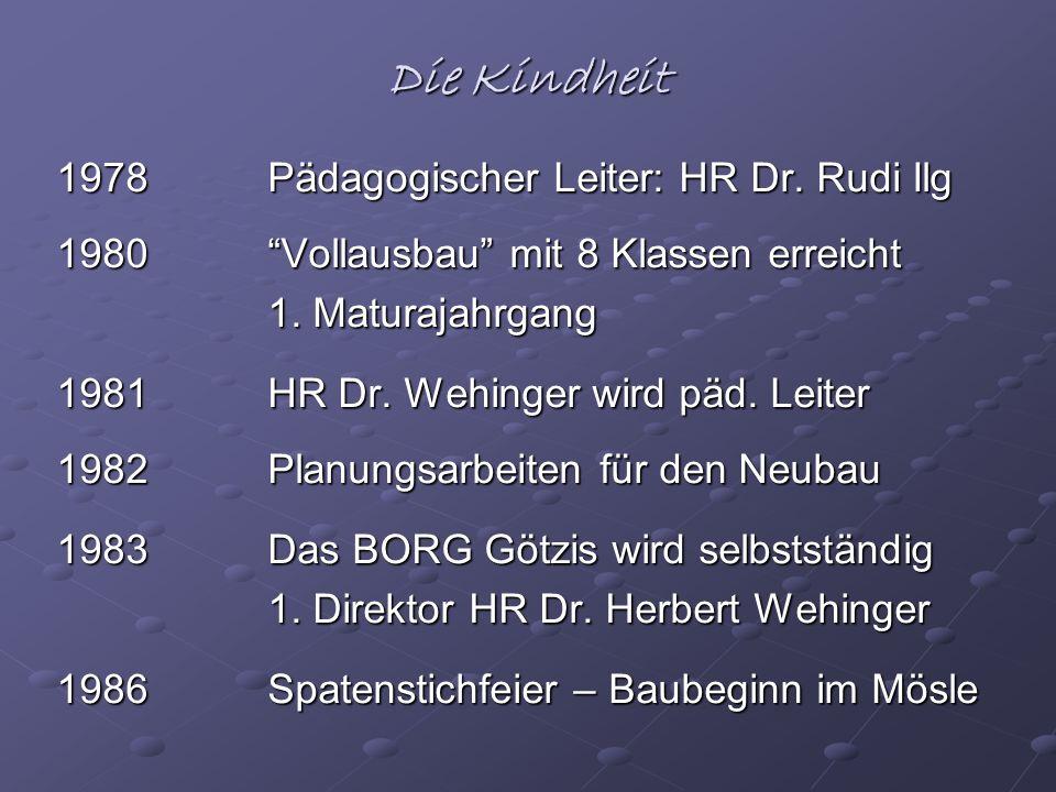 Die Kindheit 1978Pädagogischer Leiter: HR Dr. Rudi Ilg 1980Vollausbau mit 8 Klassen erreicht 1. Maturajahrgang 1981HR Dr. Wehinger wird päd. Leiter 19