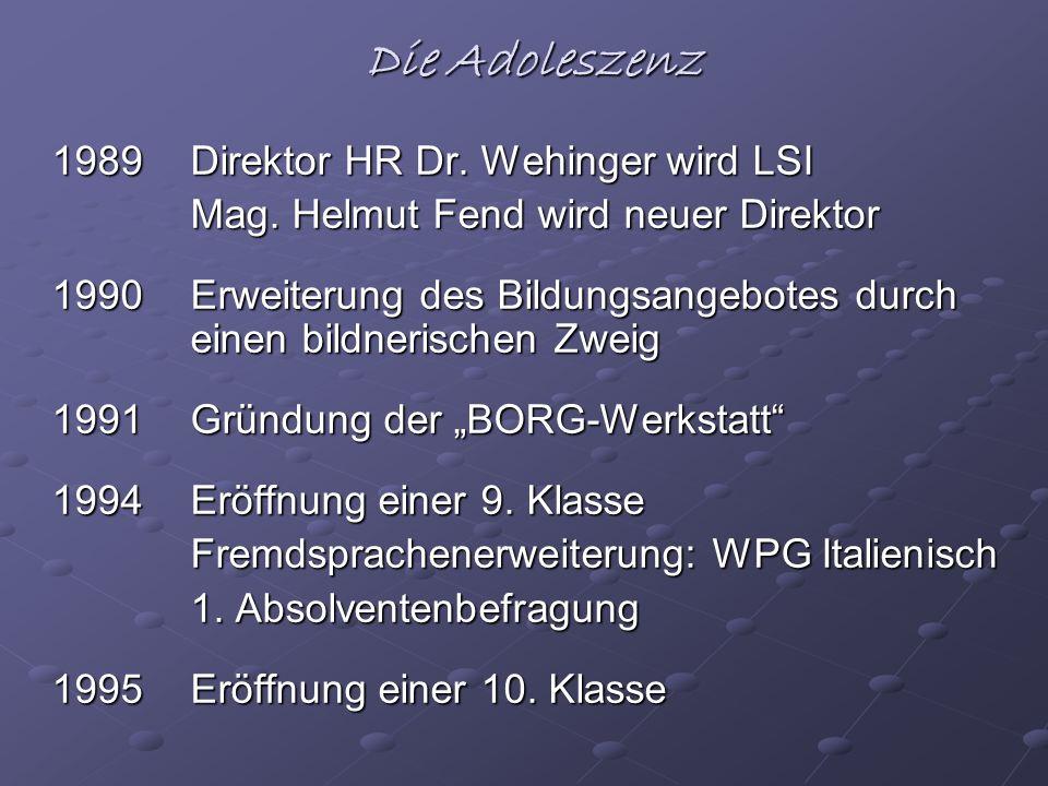 Die Adoleszenz 1989 Direktor HR Dr. Wehinger wird LSI Mag. Helmut Fend wird neuer Direktor Mag. Helmut Fend wird neuer Direktor 1990 Erweiterung des B