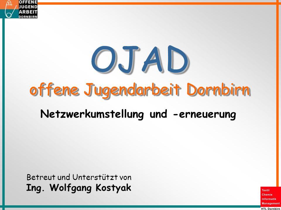 Netzwerkumstellung und -erneuerung Betreut und Unterstützt von Ing. Wolfgang Kostyak OJAD offene Jugendarbeit Dornbirn