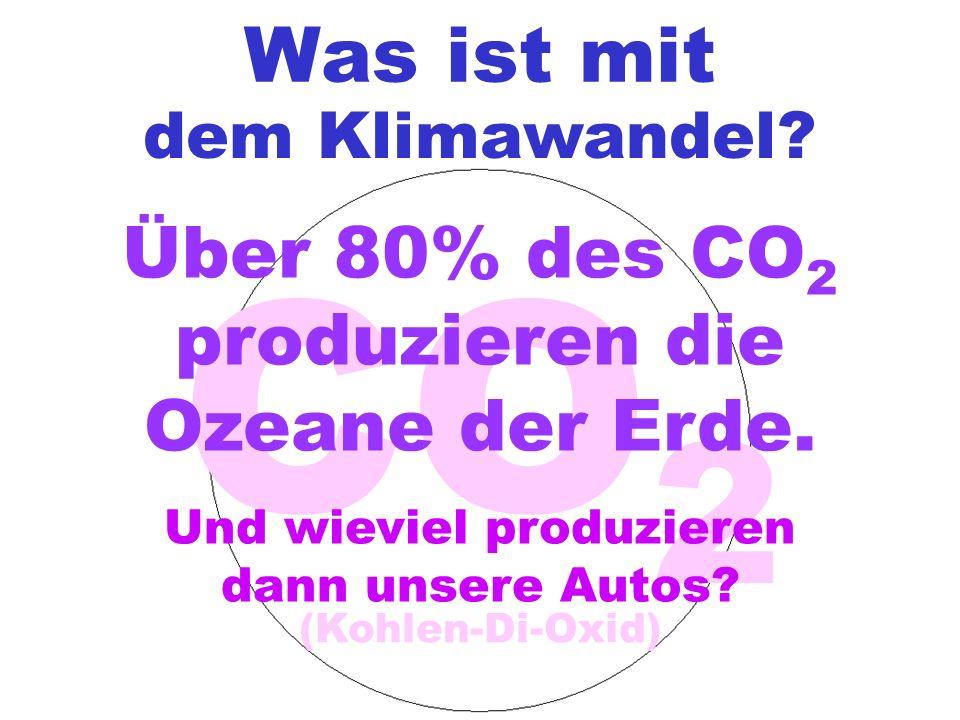 Was ist mit dem Klimawandel? CO 2 (Kohlen-Di-Oxid) Über 80% des CO 2 produzieren die Ozeane der Erde. Und wieviel produzieren dann unsere Autos?
