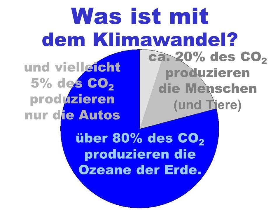 Was ist mit dem Klimawandel? über 80% des CO 2 produzieren die Ozeane der Erde. und vielleicht 5% des CO 2 produzieren nur die Autos ca. 20% des CO 2