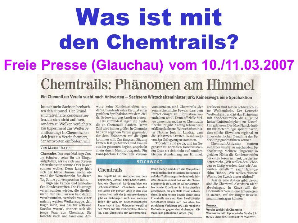 Was ist mit den Chemtrails? Freie Presse (Glauchau) vom 10./11.03.2007