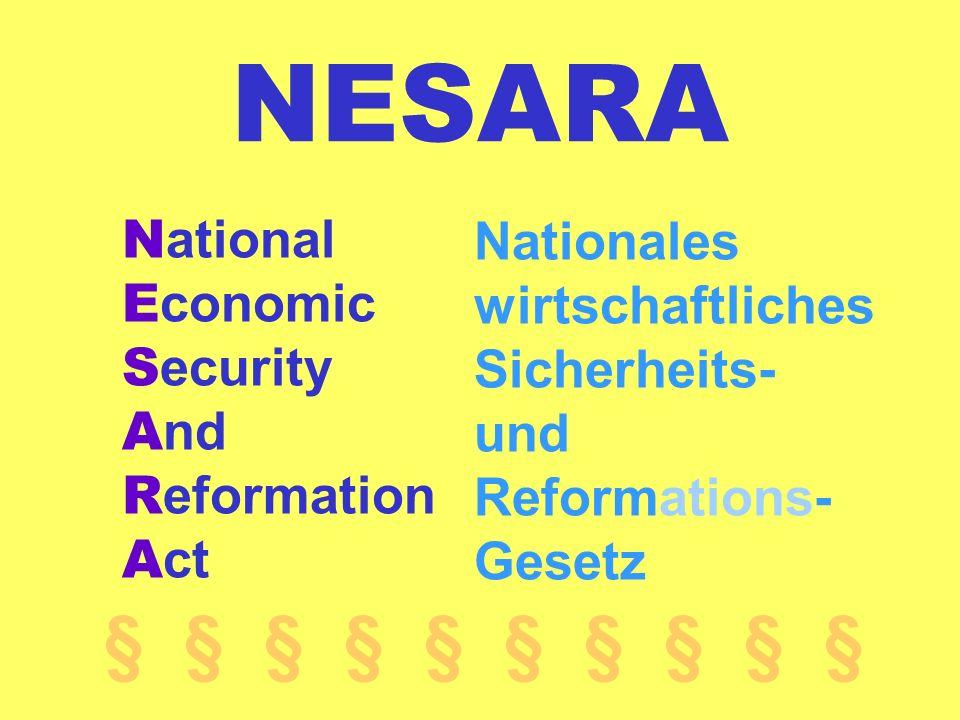NESARA N ational E conomic S ecurity A nd R eformation A ct Nationales wirtschaftliches Sicherheits- und Reformations- Gesetz § § § § §