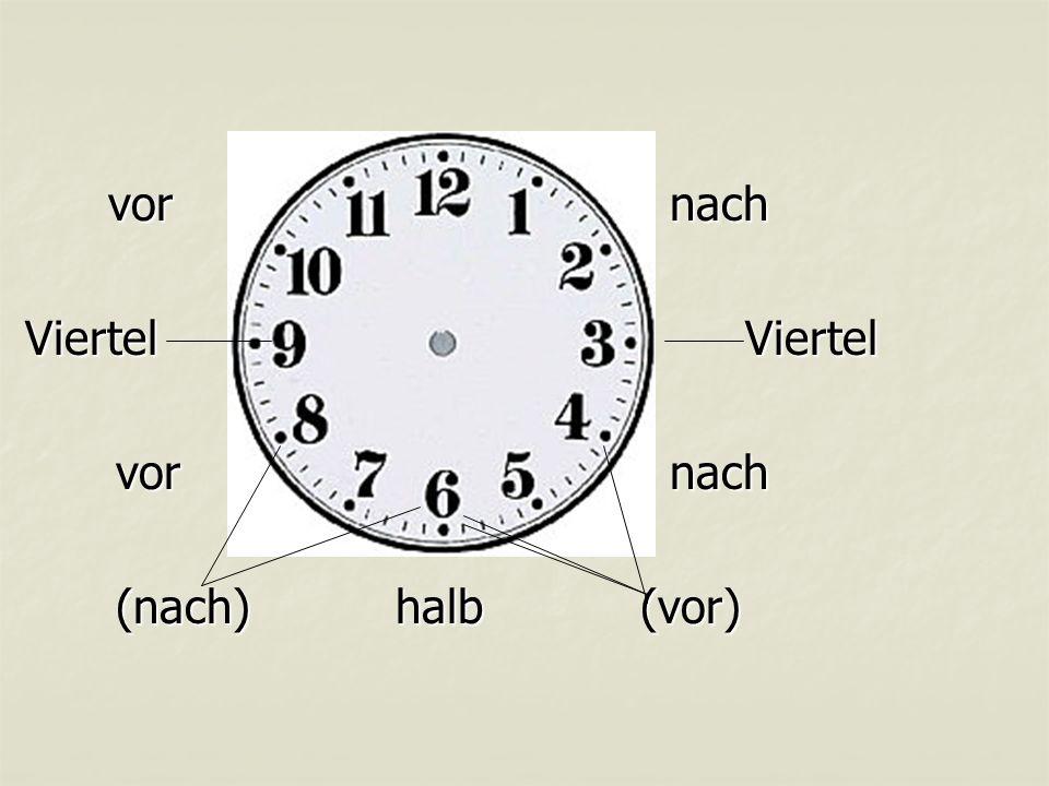 vor nach vor nach ViertelViertel ViertelViertel vor nach (nach) halb(vor)