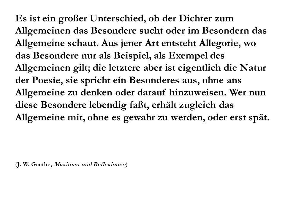 Die Forderung der absoluten Kunstdarstellung ist: Darstellung mit völliger Indifferenz, so nämlich, daß das Allgemeine ganz das Besondere, das Besondere zugleich das ganze Allgemeine ist, nicht es bedeutet (Friedrich Wilhelm Joseph Schelling, Philosophie der Kunst, 1802)