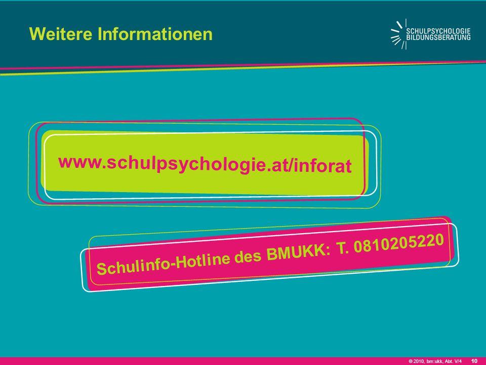 © 2010, bm:ukk, Abt. V/4 Weitere Informationen www.schulpsychologie.at/inforat 10 Schulinfo-Hotline des BMUKK: T. 0810205220