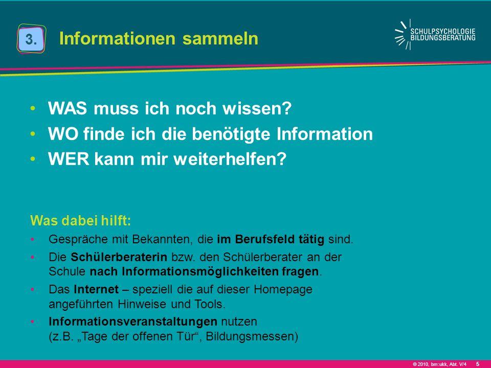 © 2010, bm:ukk, Abt. V/4 5 Informationen sammeln 3. WAS muss ich noch wissen? WO finde ich die benötigte Information WER kann mir weiterhelfen? Was da
