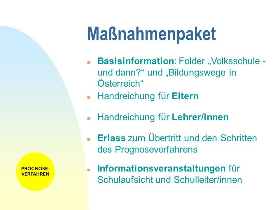 Maßnahmenpaket n Handreichung für Eltern n Handreichung für Lehrer/innen n Erlass zum Übertritt und den Schritten des Prognoseverfahrens n Information