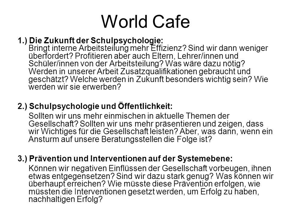 World Cafe 1.) Die Zukunft der Schulpsychologie: Bringt interne Arbeitsteilung mehr Effizienz.