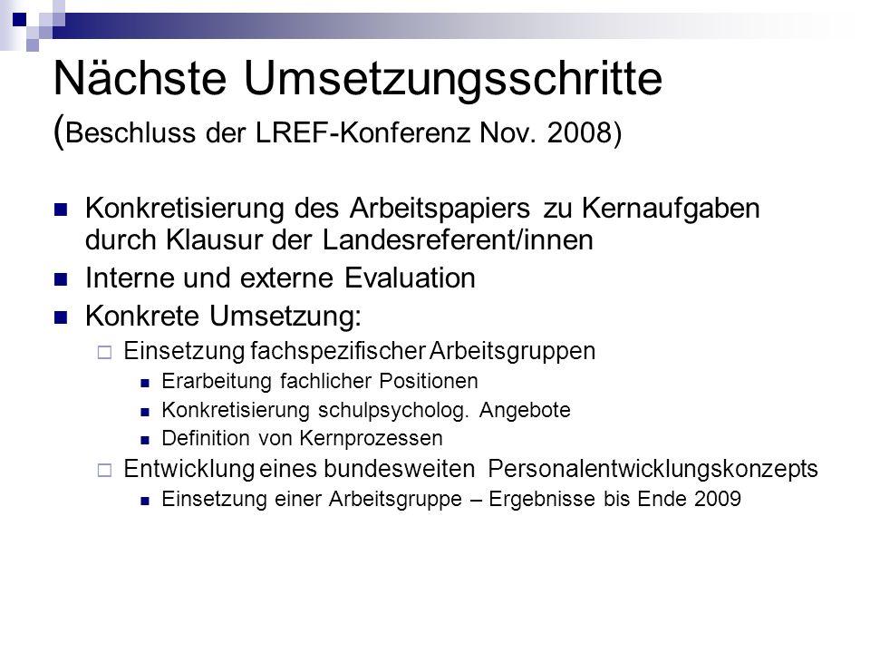 Nächste Umsetzungsschritte ( Beschluss der LREF-Konferenz Nov. 2008) Konkretisierung des Arbeitspapiers zu Kernaufgaben durch Klausur der Landesrefere