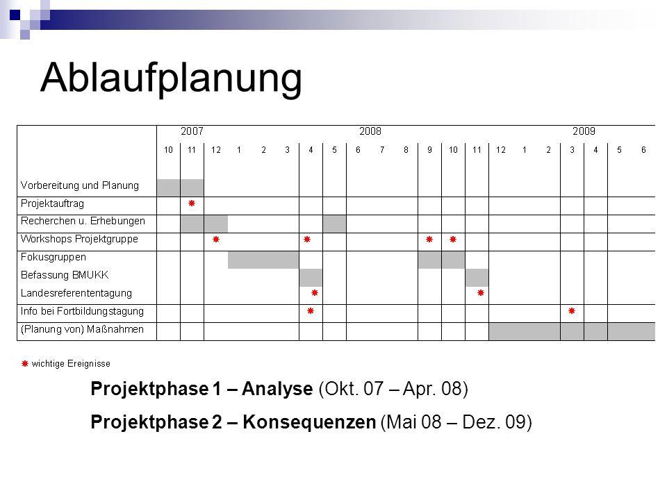 Ablaufplanung Projektphase 1 – Analyse (Okt. 07 – Apr. 08) Projektphase 2 – Konsequenzen (Mai 08 – Dez. 09)