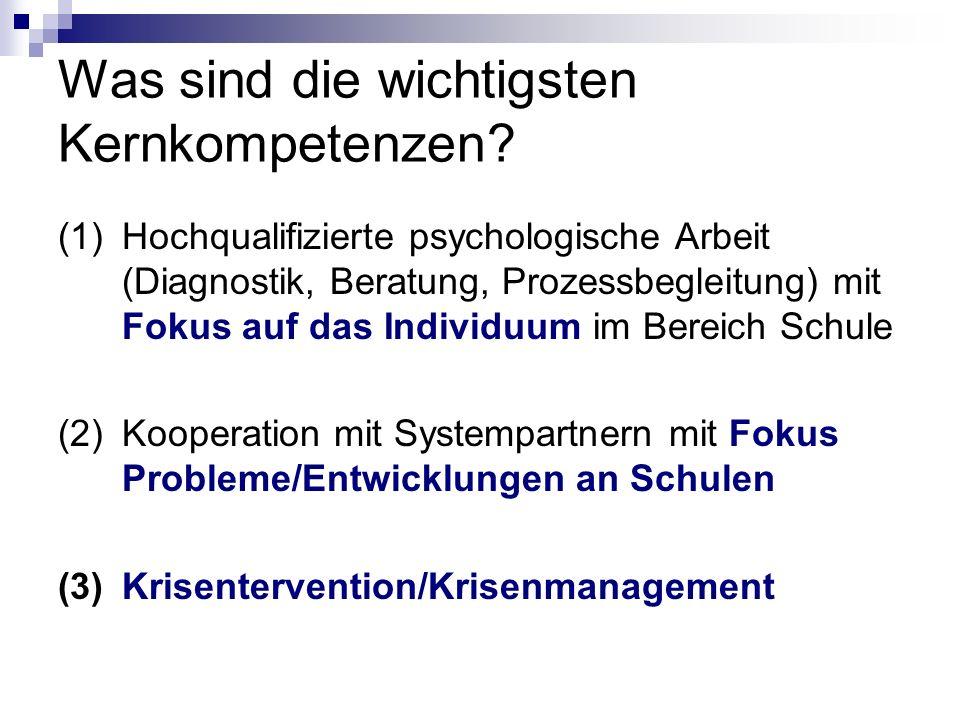Was sind die wichtigsten Kernkompetenzen? (1)Hochqualifizierte psychologische Arbeit (Diagnostik, Beratung, Prozessbegleitung) mit Fokus auf das Indiv