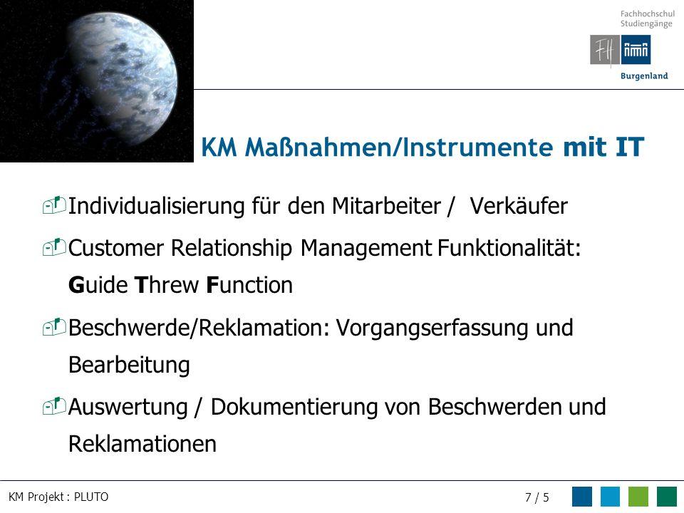 KM Projekt : PLUTO 7 / 5 Individualisierung für den Mitarbeiter / Verkäufer Customer Relationship Management Funktionalität: Guide Threw Function Besc