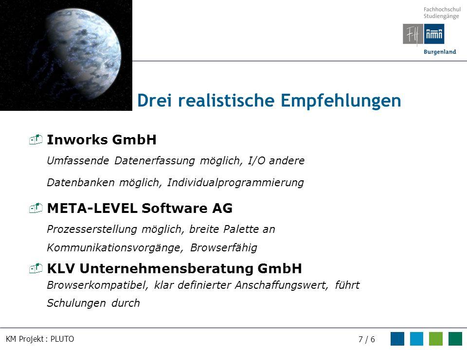 KM Projekt : PLUTO 7 / 6 Inworks GmbH Umfassende Datenerfassung möglich, I/O andere Datenbanken möglich, Individualprogrammierung META-LEVEL Software