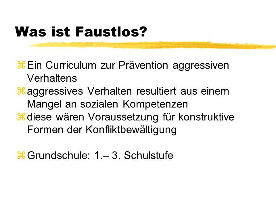 Was ist Faustlos? zEin Curriculum zur Prävention aggressiven Verhaltens zaggressives Verhalten resultiert aus einem Mangel an sozialen Kompetenzen zdi