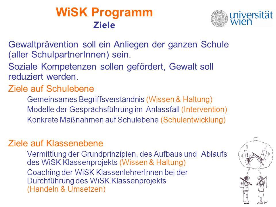 WiSK Programm Ziele Gewaltprävention soll ein Anliegen der ganzen Schule (aller SchulpartnerInnen) sein. Soziale Kompetenzen sollen gefördert, Gewalt