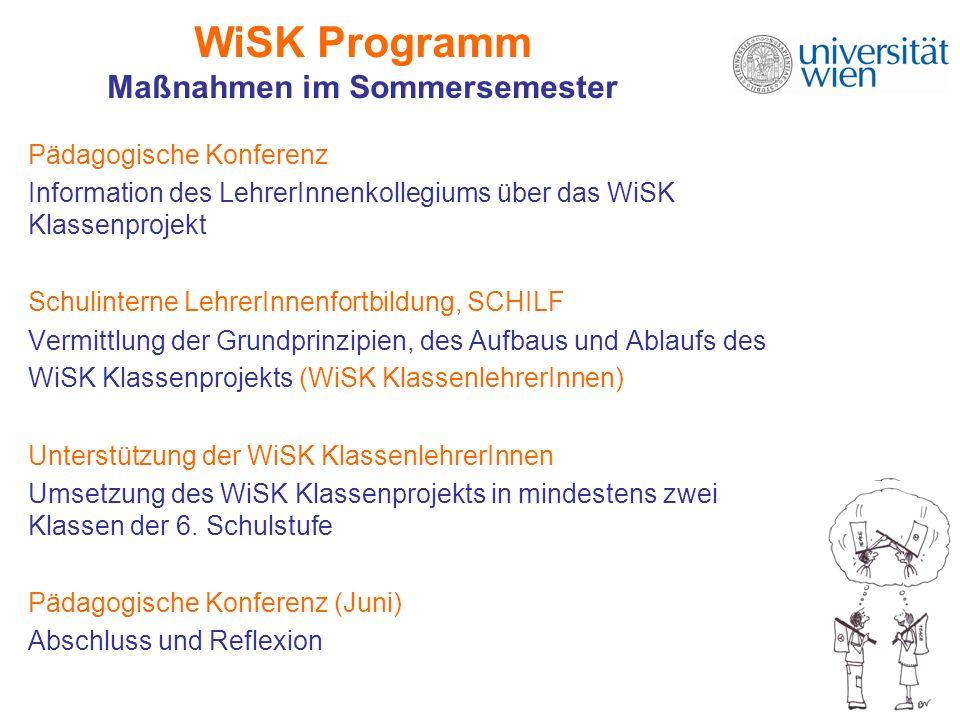 WiSK Programm Maßnahmen im Sommersemester Pädagogische Konferenz Information des LehrerInnenkollegiums über das WiSK Klassenprojekt Schulinterne Lehre