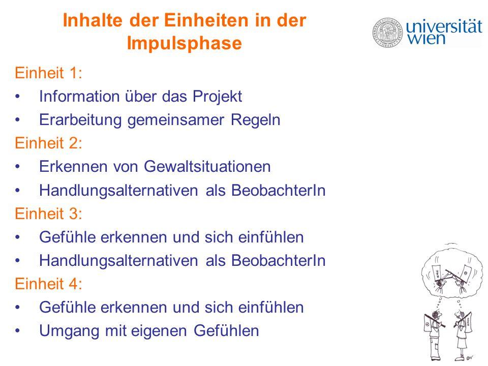 Inhalte der Einheiten in der Impulsphase Einheit 1: Information über das Projekt Erarbeitung gemeinsamer Regeln Einheit 2: Erkennen von Gewaltsituatio