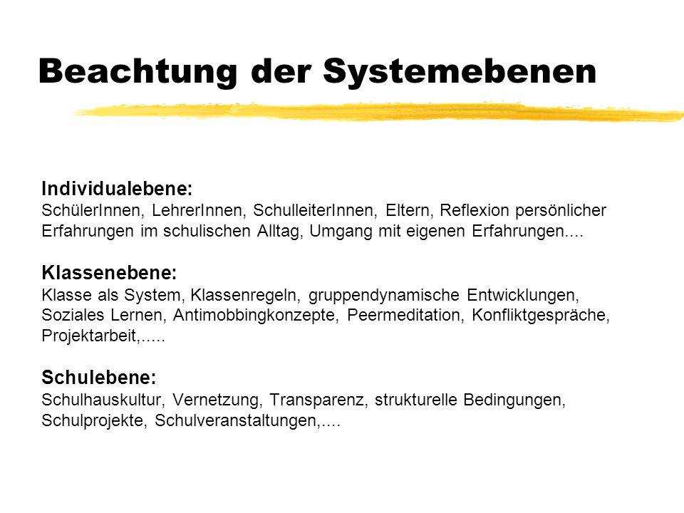 Beachtung der Systemebenen Individualebene: SchülerInnen, LehrerInnen, SchulleiterInnen, Eltern, Reflexion persönlicher Erfahrungen im schulischen All