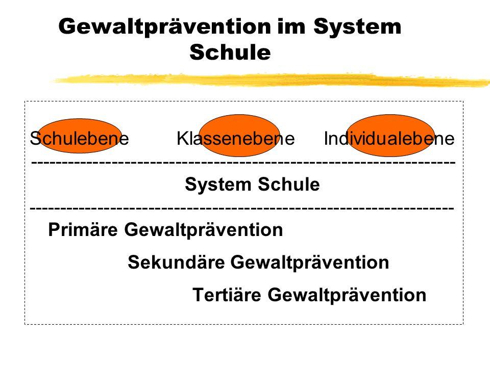 Gewaltprävention im System Schule SchulebeneKlassenebeneIndividualebene ------------------------------------------------------------------- System Sch