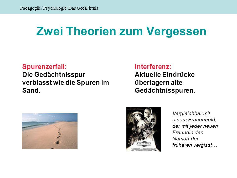 Pädagogik / Psychologie: Das Gedächtnis Zwei Theorien zum Vergessen Spurenzerfall: Die Gedächtnisspur verblasst wie die Spuren im Sand. Interferenz: A
