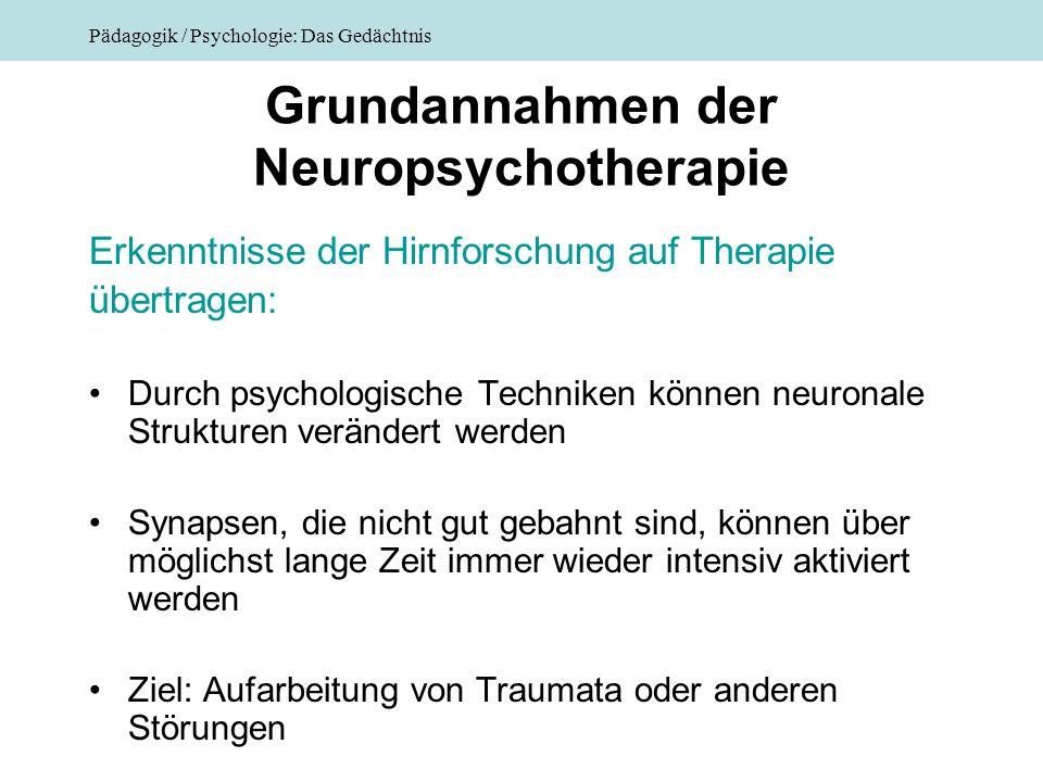 Pädagogik / Psychologie: Das Gedächtnis Grundannahmen der Neuropsychotherapie Erkenntnisse der Hirnforschung auf Therapie übertragen: Durch psychologi
