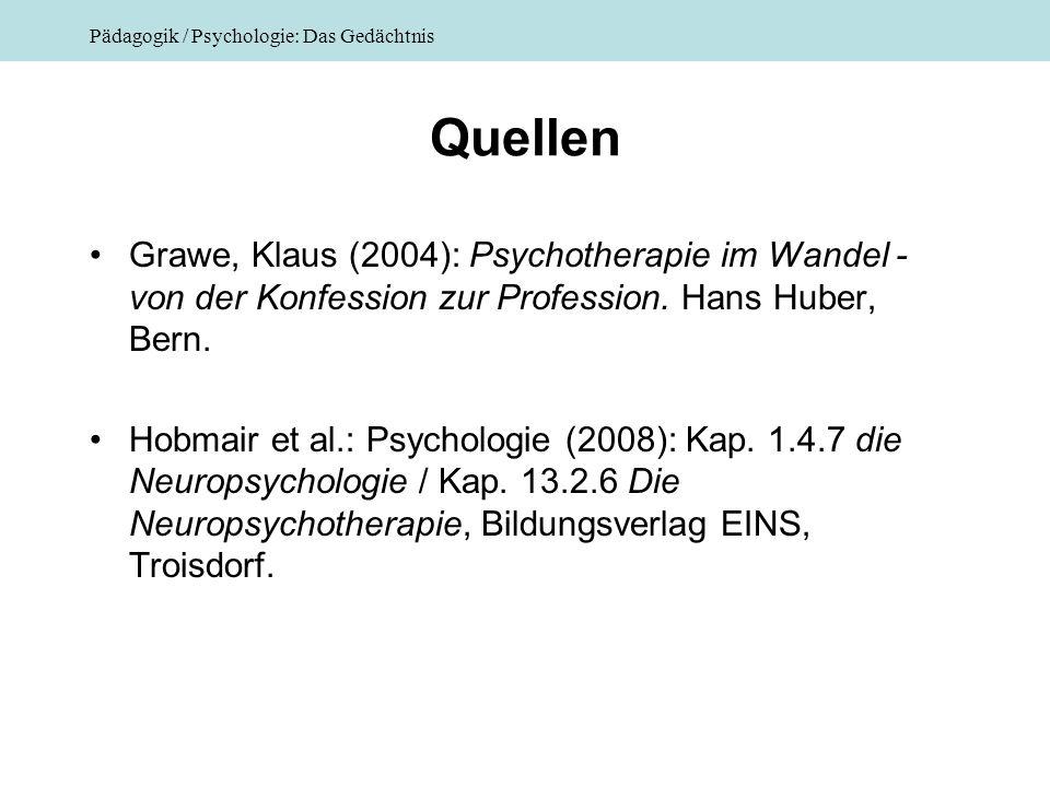 Pädagogik / Psychologie: Das Gedächtnis Quellen Grawe, Klaus (2004): Psychotherapie im Wandel - von der Konfession zur Profession. Hans Huber, Bern. H