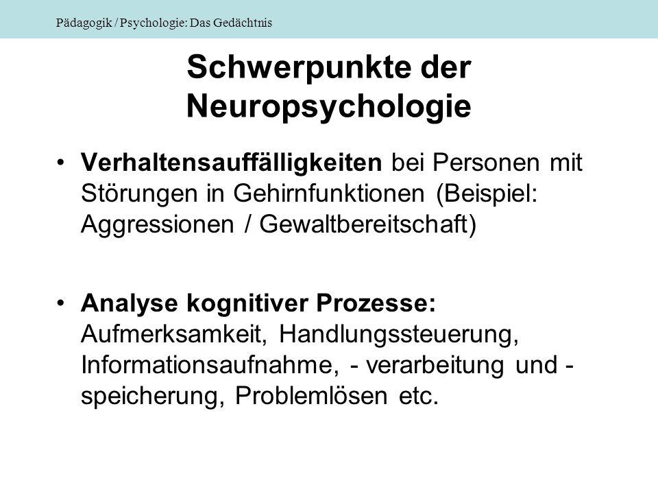 Pädagogik / Psychologie: Das Gedächtnis Schwerpunkte der Neuropsychologie Verhaltensauffälligkeiten bei Personen mit Störungen in Gehirnfunktionen (Be
