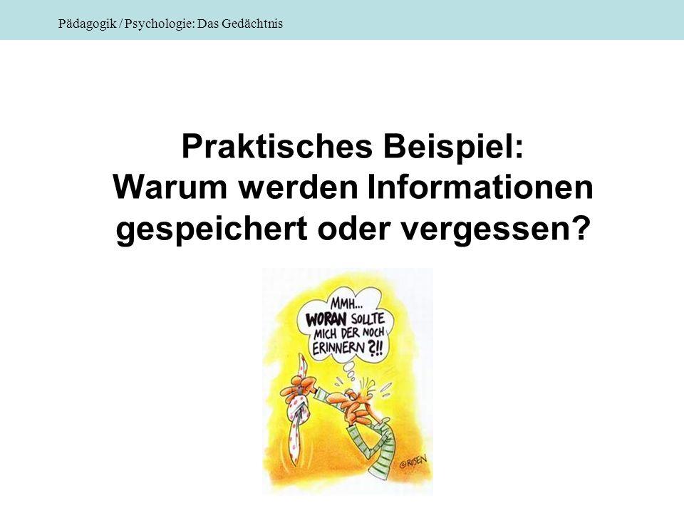 Pädagogik / Psychologie: Das Gedächtnis Praktisches Beispiel: Warum werden Informationen gespeichert oder vergessen?
