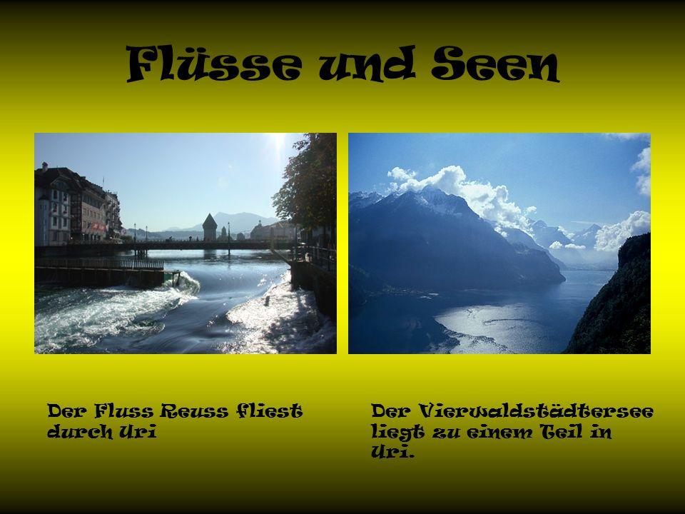 Flüsse und Seen Der Fluss Reuss fliest durch Uri Der Vierwaldstädtersee liegt zu einem Teil in Uri.