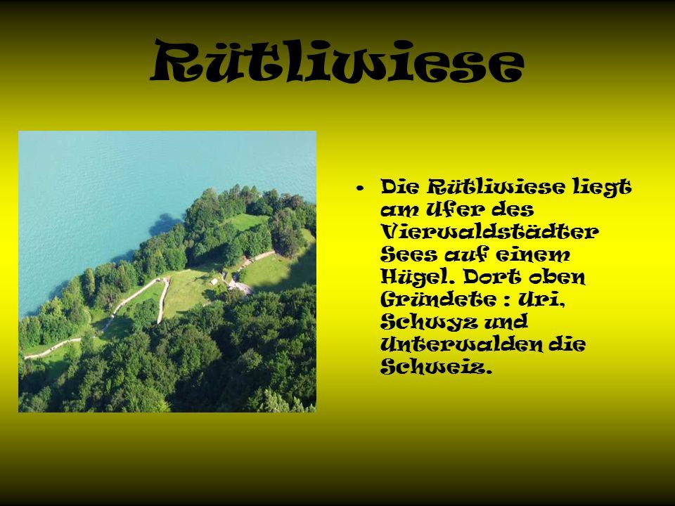 Rütliwiese Die Rütliwiese liegt am Ufer des Vierwaldstädter Sees auf einem Hügel.