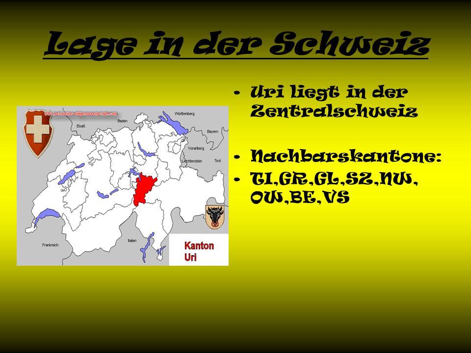 Lage in der Schweiz Uri liegt in der Zentralschweiz Nachbarskantone: TI,GR,GL,SZ,NW, OW,BE,VS