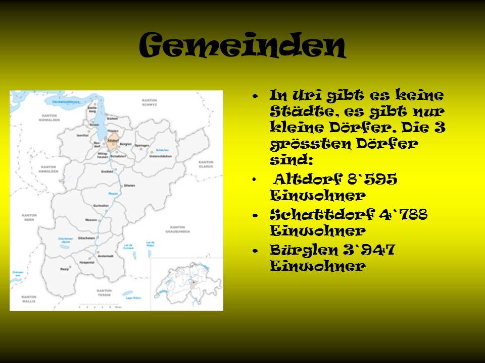 Gemeinden In Uri gibt es keine Städte, es gibt nur kleine Dörfer.