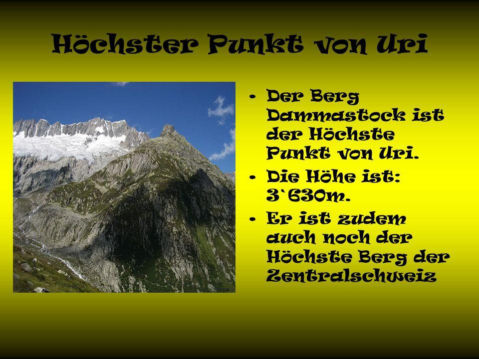 Höchster Punkt von Uri Der Berg Dammastock ist der Höchste Punkt von Uri.