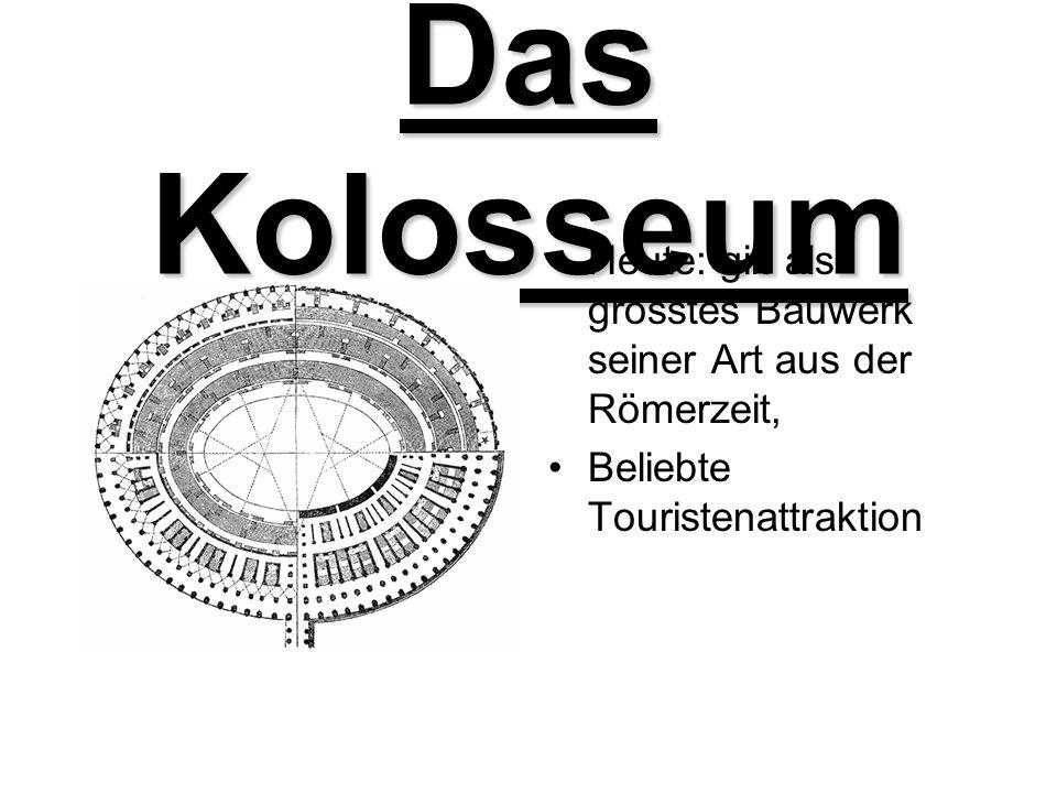 Das Kolosseum Heute: gilt als grösstes Bauwerk seiner Art aus der Römerzeit, Beliebte Touristenattraktion