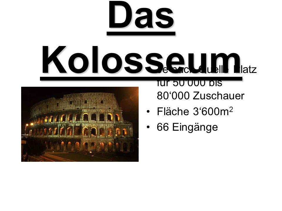 Das Kolosseum Je nach Quelle Platz für 50000 bis 80000 Zuschauer Fläche 3600m 2 66 Eingänge
