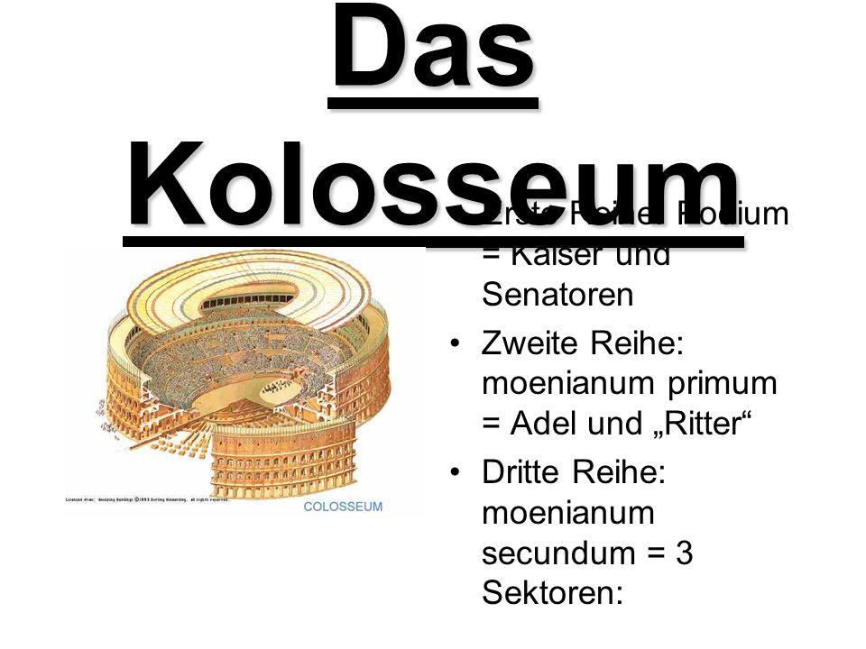 Das Kolosseum Erste Reihe: Podium = Kaiser und Senatoren Zweite Reihe: moenianum primum = Adel und Ritter Dritte Reihe: moenianum secundum = 3 Sektore