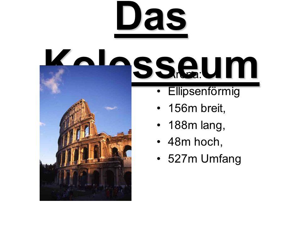 Das Kolosseum Nach der Römerzeit: Ab 6.Jrh: Wohnräume im Kolosseum Ab 12.Jrh.: Teil der Stadtfestung der Adelsfamilie Frangipani Immer wieder als Steinbruch benützt.