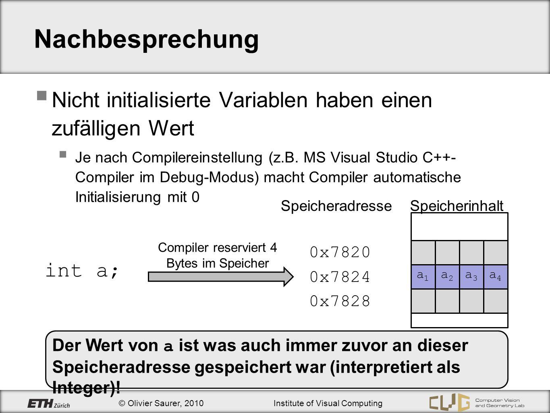 © Olivier Saurer, 2010Institute of Visual Computing Nachbesprechung Nicht initialisierte Variablen haben einen zufälligen Wert Je nach Compilereinstel