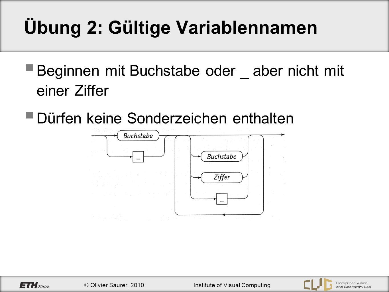 © Olivier Saurer, 2010Institute of Visual Computing Übung 2: Auswertung von algebraischen Operatoren Bsp: Es gilt: 7.0 * (3 / 7) * 5 0 7.0 * *5 0.07.0* *5 0.0 *5 * 5.0 0.0 Ergebnistyp: double 4 int 4.f float 4.0 double