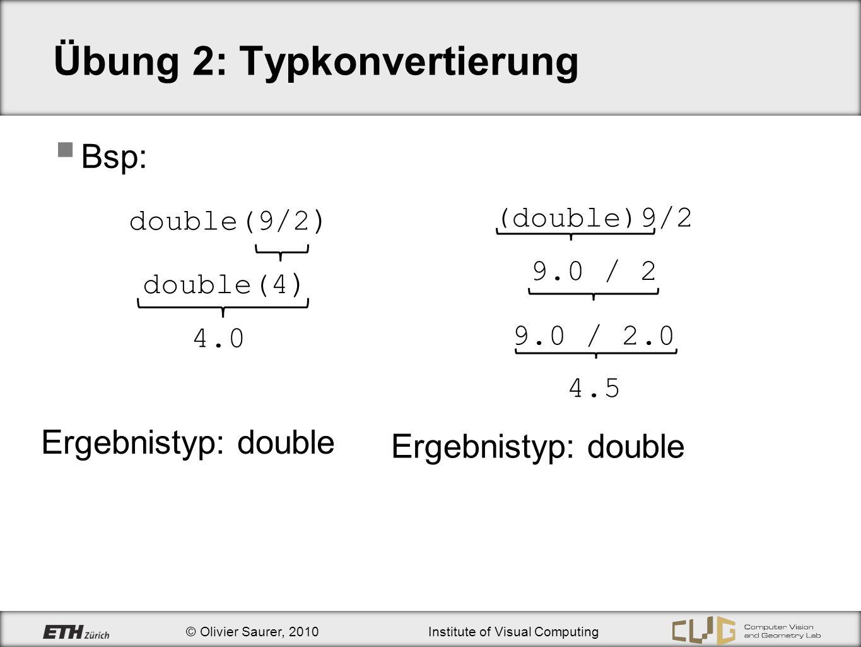 © Olivier Saurer, 2010Institute of Visual Computing Übung 2: Programmanalyse Eine instanziierte Variable hat immer einen Wert der Wert kann zufällig sein (wenn nicht initialisiert) oder definiert (nach Initialisierung) Bsp: int main() { int s1, s2 = 4; double d1, d2 = 4.0; … } s1 und d1 haben zufällige Werte s2 = 4 und d2 = 4.0