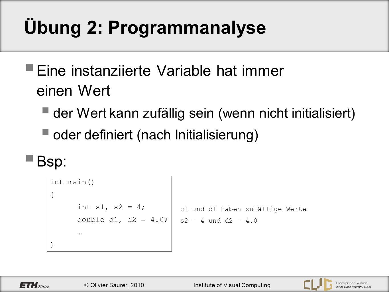 © Olivier Saurer, 2010Institute of Visual Computing Schleifen: break - Anweisung break : Schleife wird vorzeitig abgebrochen Kann in while, do-while und for – Schleifen verwendet werden double d = 0.0; for(int i = 1; i < 100; i++){ if (i > 5){ cout << i = << i << endl; break; } d += 1.0/i; } cout << d = << d << endl; Ausgabe: i = 6 d = 1/1 + 1/2 + 1/3 + 1/4 + 1/5 = 2.2833 ?
