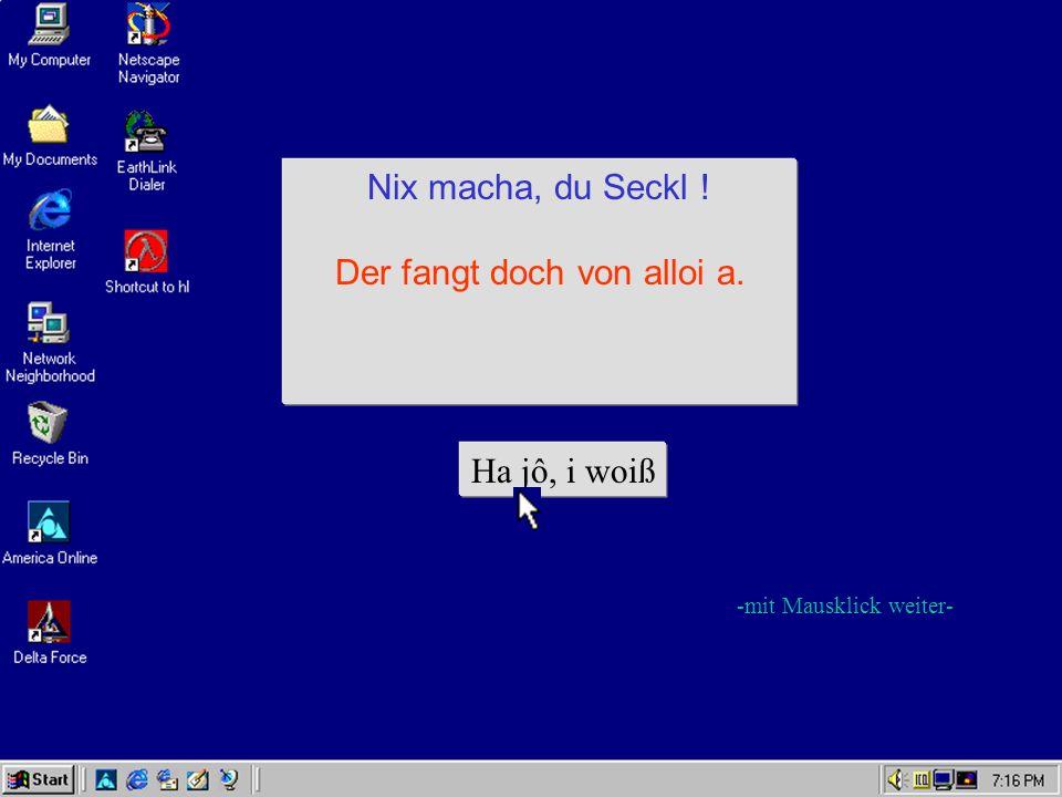 FATAL ERROR Kompjuter im Arsch. Nui Schdart macha oder mit dr Maus uf da Disch haua Ha jô -mit Mausklick weiter-