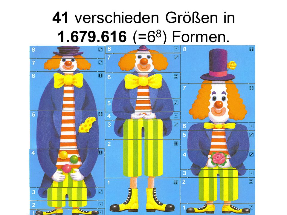 41 verschieden Größen in 1.679.616 (=6 8 ) Formen.