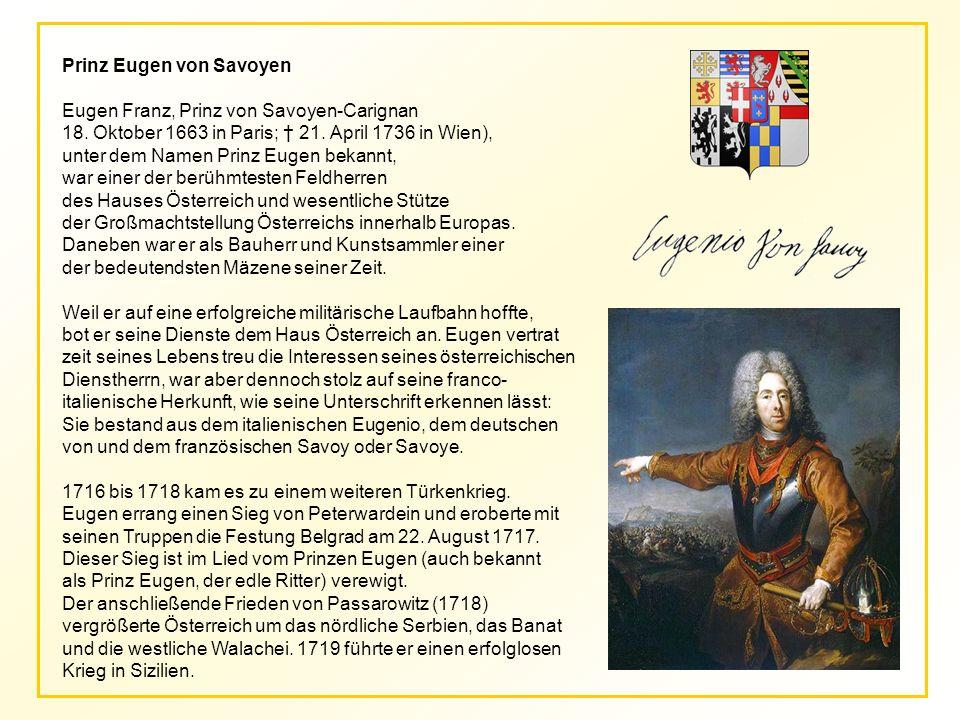 Prinz Eugen von Savoyen Eugen Franz, Prinz von Savoyen-Carignan 18.