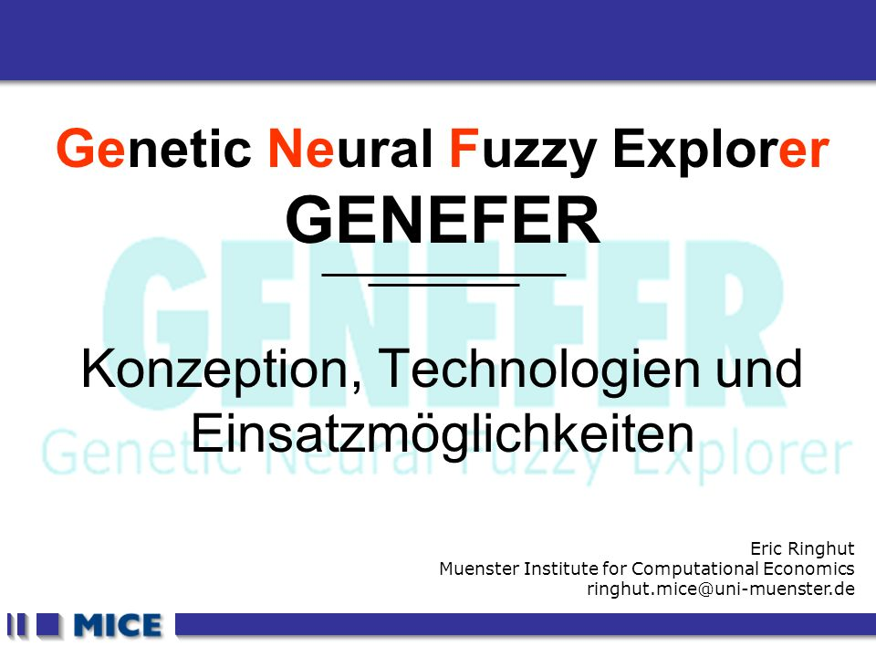 CEF 2001, New Haven Genetic Neural Fuzzy Explorer GENEFER Konzeption, Technologien und Einsatzmöglichkeiten Eric Ringhut Muenster Institute for Computational Economics