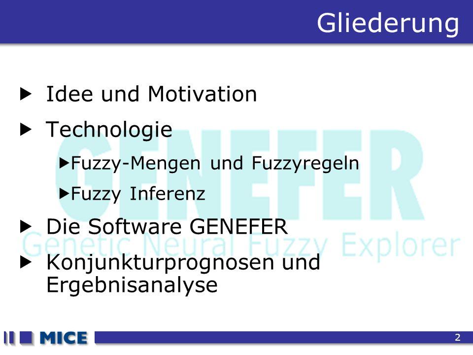 CEF 2001, New Haven 2 Gliederung Idee und Motivation Technologie Fuzzy-Mengen und Fuzzyregeln Fuzzy Inferenz Die Software GENEFER Konjunkturprognosen und Ergebnisanalyse
