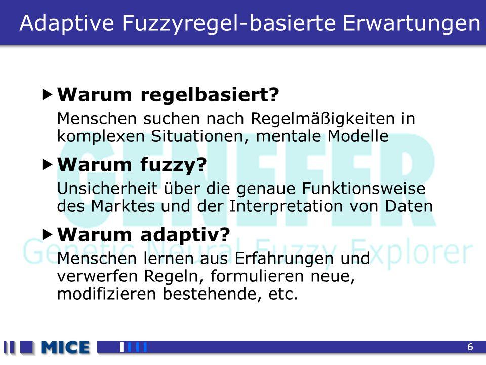 CEF 2001, New Haven 6 Adaptive Fuzzyregel-basierte Erwartungen Warum regelbasiert? Menschen suchen nach Regelmäßigkeiten in komplexen Situationen, men
