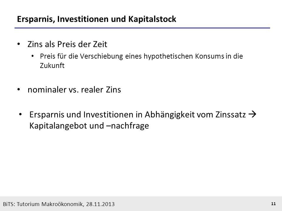 KOOTHS | BiTS: Makroökonomik WS 2013/2014, Fassung 1 11 BiTS: Tutorium Makroökonomik, 28.11.2013 Ersparnis, Investitionen und Kapitalstock Zins als Pr